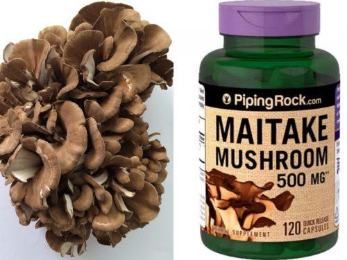 Nấm Maitake tươi (trái) và nấm Maitake dạng viên (phải)